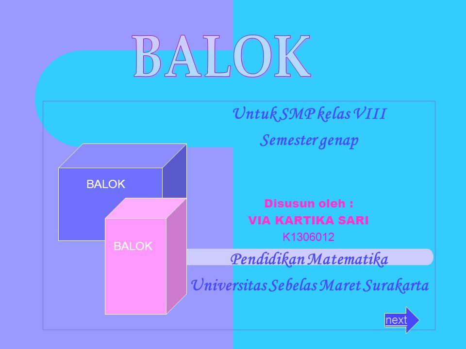 Untuk SMP kelas VIII Semester genap Disusun oleh : VIA KARTIKA SARI K1306012 Pendidikan Matematika Universitas Sebelas Maret Surakarta BALOK next