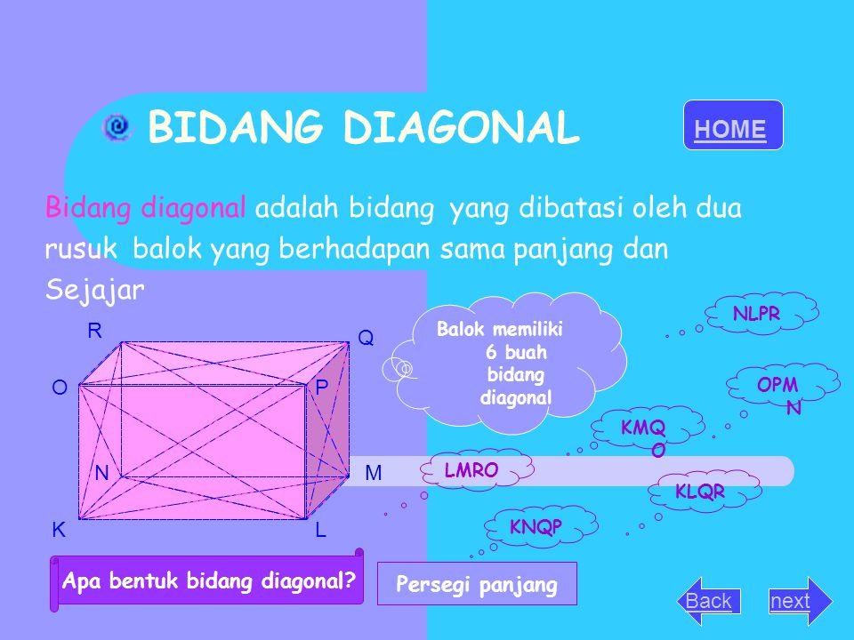 BIDANG DIAGONAL Bidang diagonal adalah bidang yang dibatasi oleh dua rusuk balok yang berhadapan sama panjang dan Sejajar KL MN OP Q R Balok memiliki