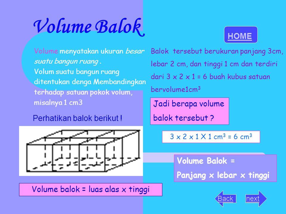 Volume Balok Volume menyatakan ukuran besar suatu bangun ruang. Volum suatu bangun ruang ditentukan denga Membandingkan terhadap satuan pokok volum, m