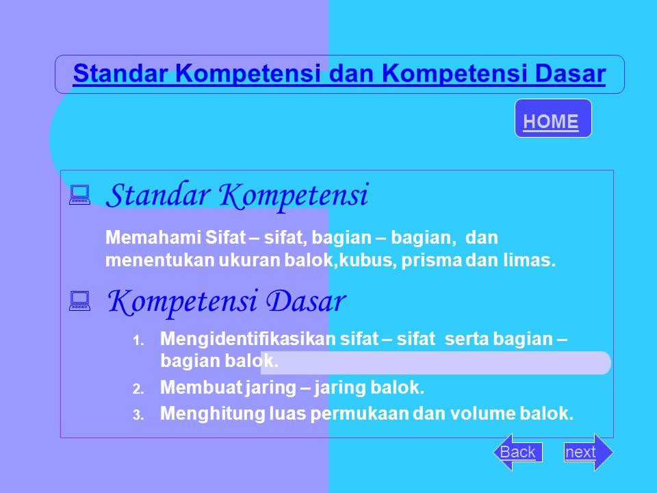 Standar Kompetensi dan Kompetensi Dasar SStandar Kompetensi Memahami Sifat – sifat, bagian – bagian, dan menentukan ukuran balok,kubus, prisma dan l