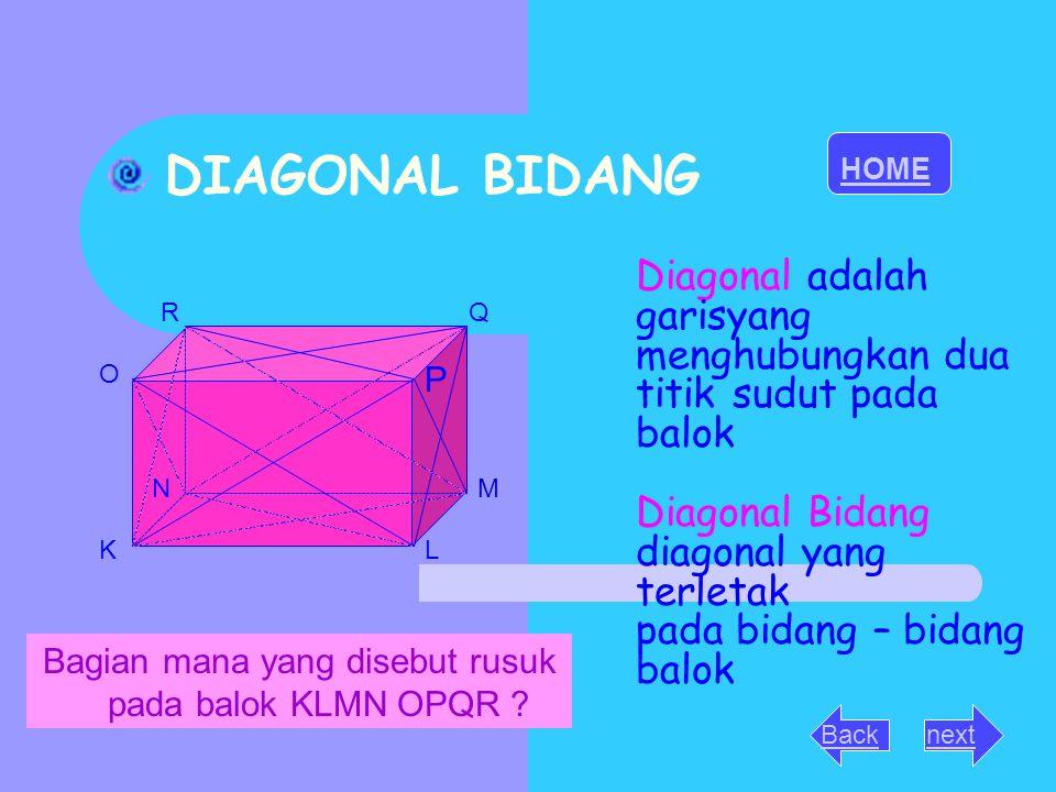 DIAGONAL BIDANG KL MN O QR Diagonal adalah garisyang menghubungkan dua titik sudut pada balok Diagonal Bidang diagonal yang terletak pada bidang – bid