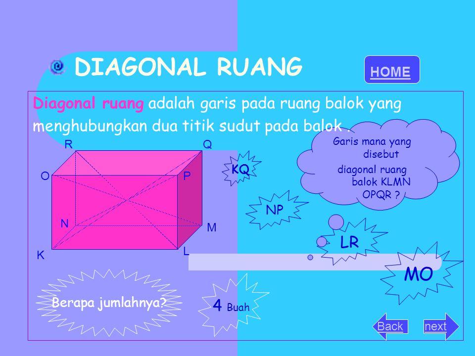 BIDANG DIAGONAL Bidang diagonal adalah bidang yang dibatasi oleh dua rusuk balok yang berhadapan sama panjang dan Sejajar KL MN OP Q R Balok memiliki 6 buah bidang diagonal KMQ O NLPR LMRO KNQP KLQR OPM N Apa bentuk bidang diagonal.