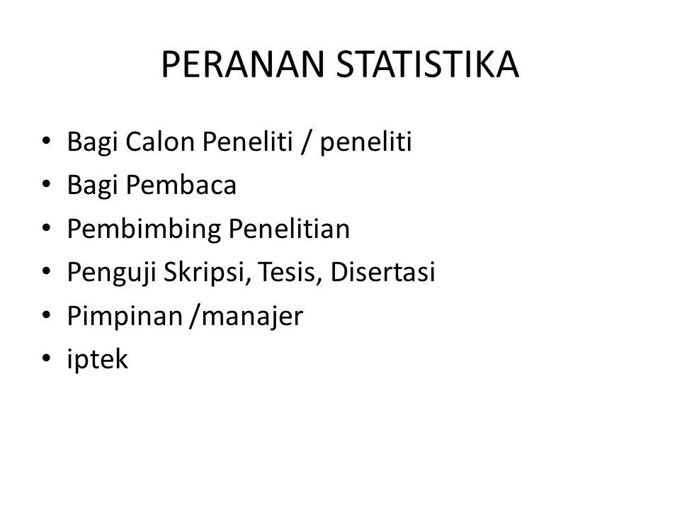 PERANAN STATISTIKA Bagi Calon Peneliti / peneliti Bagi Pembaca Pembimbing Penelitian Penguji Skripsi, Tesis, Disertasi Pimpinan /manajer iptek