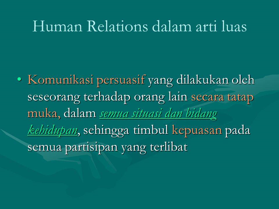 Human Relations dalam Pengertian Terbatas Komunikasi persuasif yang dilakukan oleh seseorang terhadap orang lain secara tatap muka, dalam situasi kerja dan dalam organisasi kekaryaan, dengan tujuan untuk menumbuhkan kegairahan kerja dan semangat kerja bersama yang produktif dan memuaskan.Komunikasi persuasif yang dilakukan oleh seseorang terhadap orang lain secara tatap muka, dalam situasi kerja dan dalam organisasi kekaryaan, dengan tujuan untuk menumbuhkan kegairahan kerja dan semangat kerja bersama yang produktif dan memuaskan.