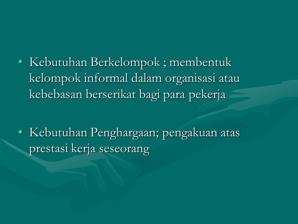 Kebutuhan Berkelompok ; membentuk kelompok informal dalam organisasi atau kebebasan berserikat bagi para pekerjaKebutuhan Berkelompok ; membentuk kelo