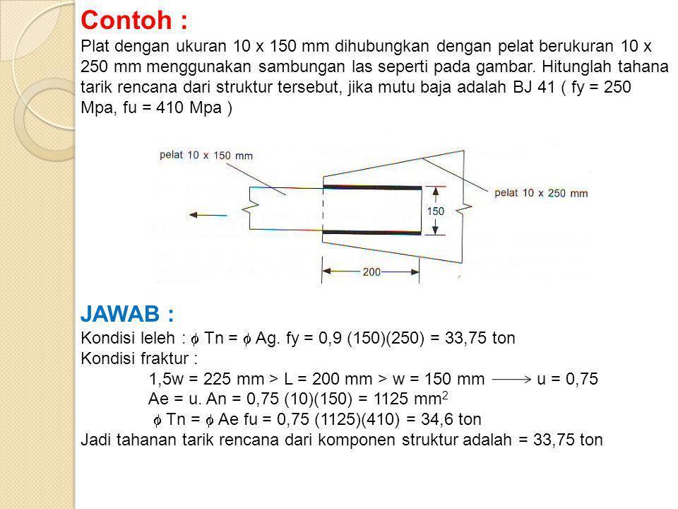 Contoh : Plat dengan ukuran 10 x 150 mm dihubungkan dengan pelat berukuran 10 x 250 mm menggunakan sambungan las seperti pada gambar.