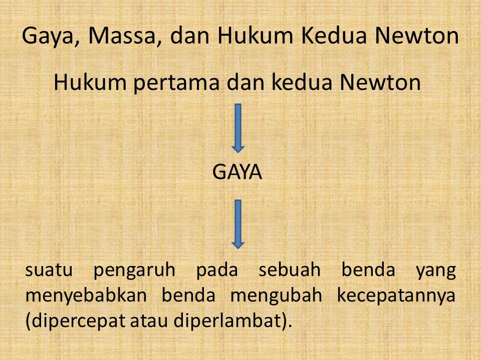 Gaya, Massa, dan Hukum Kedua Newton Hukum pertama dan kedua Newton GAYA suatu pengaruh pada sebuah benda yang menyebabkan benda mengubah kecepatannya (dipercepat atau diperlambat).