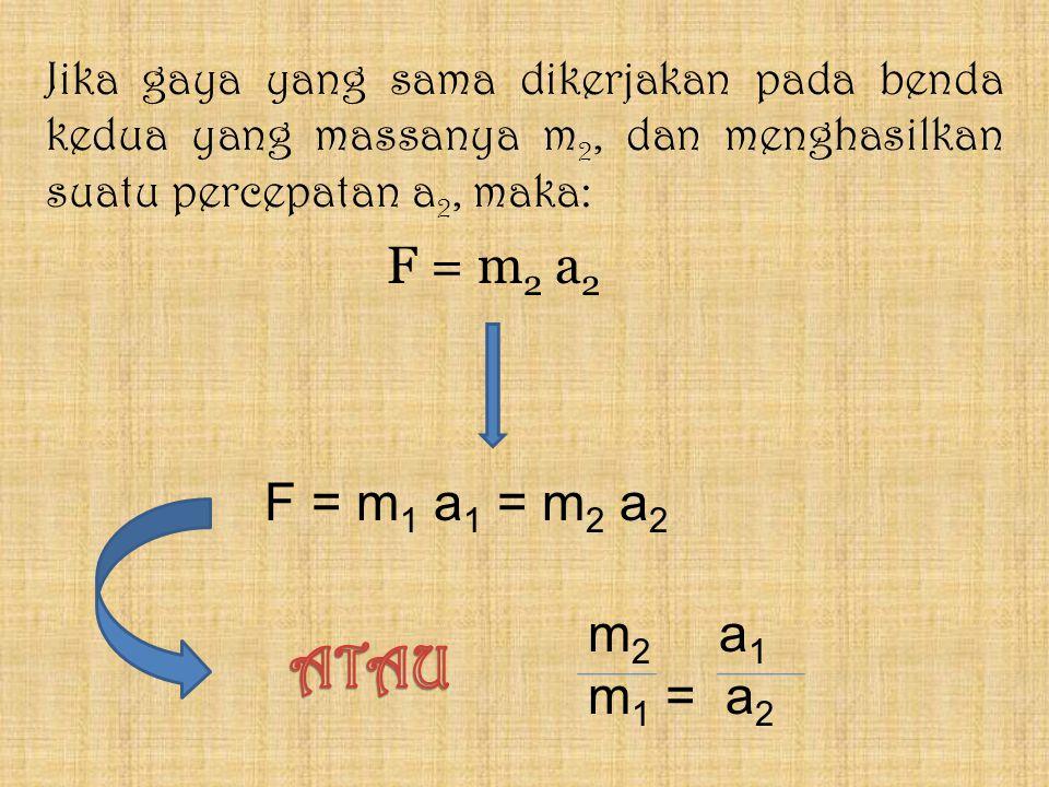 F = m 2 a 2 Jika gaya yang sama dikerjakan pada benda kedua yang massanya m 2, dan menghasilkan suatu percepatan a 2, maka: m 2 a 1 m 1 = a 2 F = m 1 a 1 = m 2 a 2