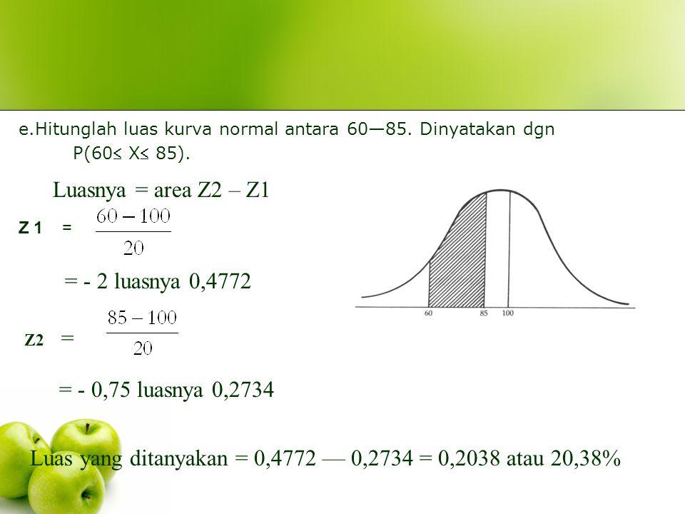 d. Hitunglah luas kurva normal antara 110—130. Dinyatakan dengan P(110X 130). Luasnya = area Z2 – Z1 Z2 = = 1,5 luasnya 0,4332 Z1Z1= = 0,5 luasnya 0