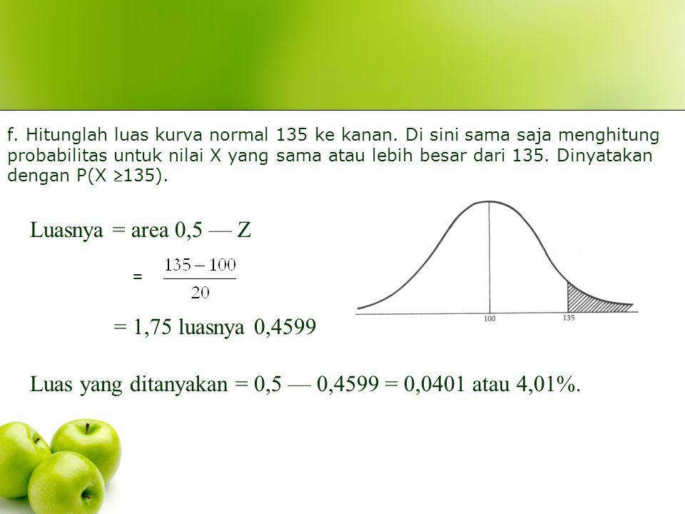 e.Hitunglah luas kurva normal antara 60—85. Dinyatakan dgn P(60 X 85). Luasnya = area Z2 – Z1 Z 1 = = - 2 luasnya 0,4772 Z2 = = - 0,75 luasnya 0,273