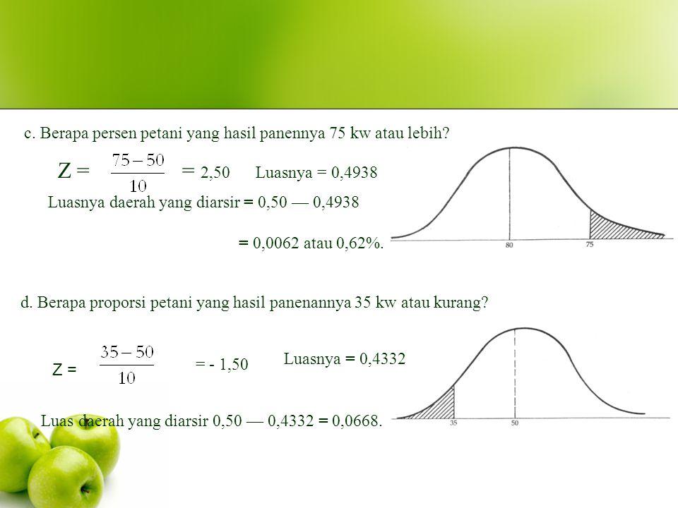 Berapa proporsi petani yang hasil panenannya berkisar antara 50 sampai dengan 70 kw?