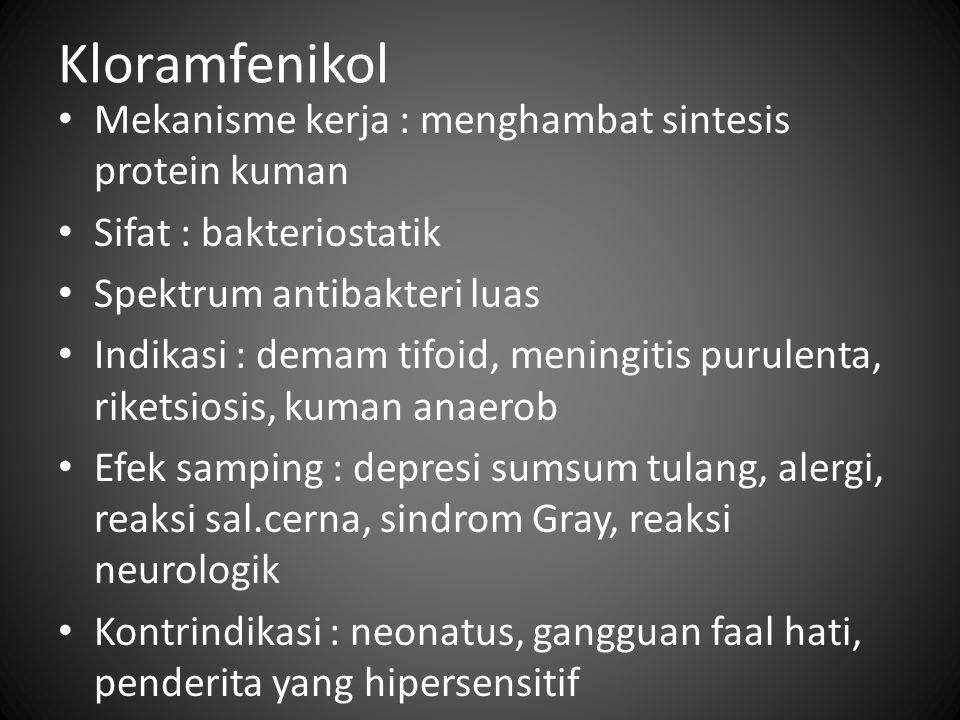 Kloramfenikol Mekanisme kerja : menghambat sintesis protein kuman Sifat : bakteriostatik Spektrum antibakteri luas Indikasi : demam tifoid, meningitis