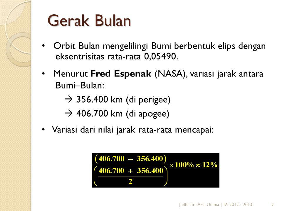 2 Gerak Bulan 2Judhistira Aria Utama   TA 2012 - 2013 Orbit Bulan mengelilingi Bumi berbentuk elips dengan eksentrisitas rata-rata 0,05490. Menurut Fr