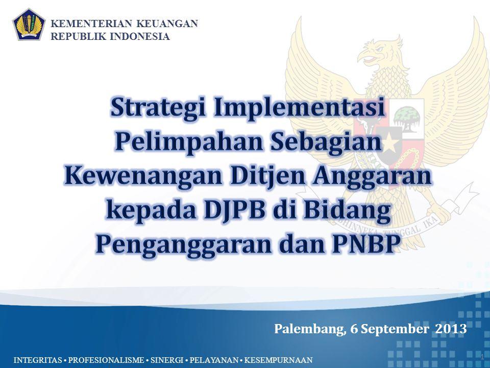 INTEGRITAS PROFESIONALISME SINERGI PELAYANAN KESEMPURNAAN Palembang, 6 September 2013 1