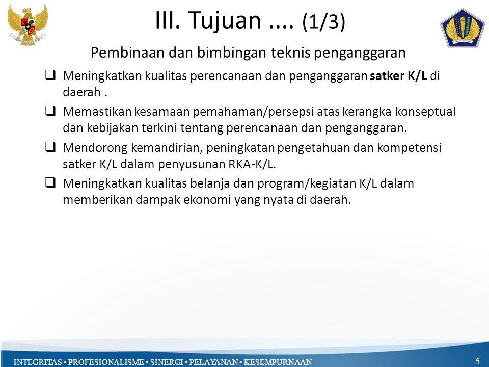 INTEGRITAS PROFESIONALISME SINERGI PELAYANAN KESEMPURNAAN III.