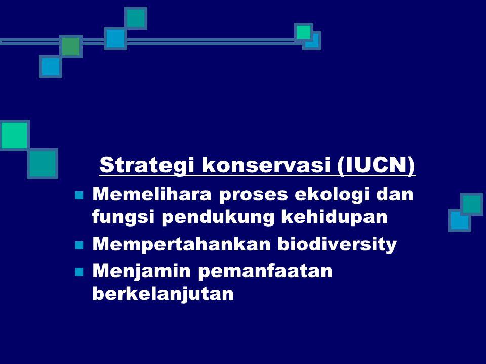 Strategi konservasi (IUCN) Memelihara proses ekologi dan fungsi pendukung kehidupan Mempertahankan biodiversity Menjamin pemanfaatan berkelanjutan
