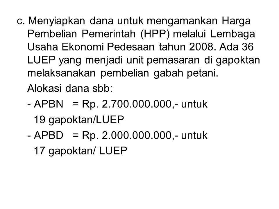 c. Menyiapkan dana untuk mengamankan Harga Pembelian Pemerintah (HPP) melalui Lembaga Usaha Ekonomi Pedesaan tahun 2008. Ada 36 LUEP yang menjadi unit