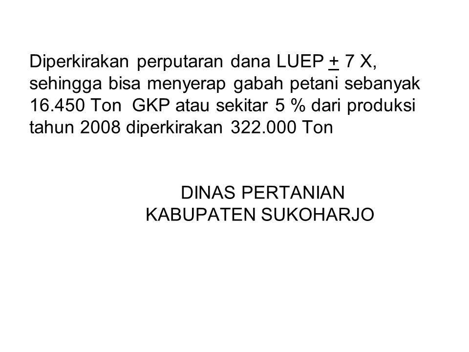Diperkirakan perputaran dana LUEP + 7 X, sehingga bisa menyerap gabah petani sebanyak 16.450 Ton GKP atau sekitar 5 % dari produksi tahun 2008 diperki
