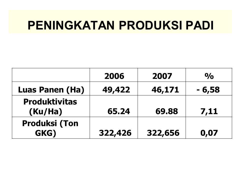 PENINGKATAN PRODUKSI PADI 20062007% Luas Panen (Ha) 49,422 46,171- 6,58 Produktivitas (Ku/Ha) 65.24 69.887,11 Produksi (Ton GKG) 322,426 322,6560,07