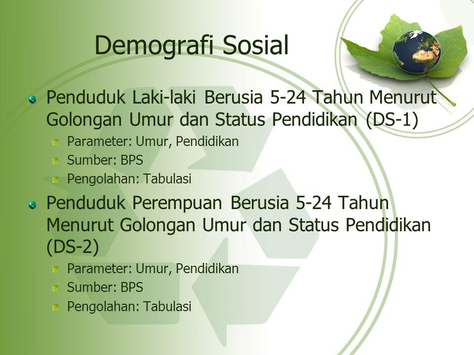 Demografi Sosial Penduduk Laki-laki Berusia 5-24 Tahun Menurut Golongan Umur dan Status Pendidikan (DS-1) Parameter: Umur, Pendidikan Sumber: BPS Peng