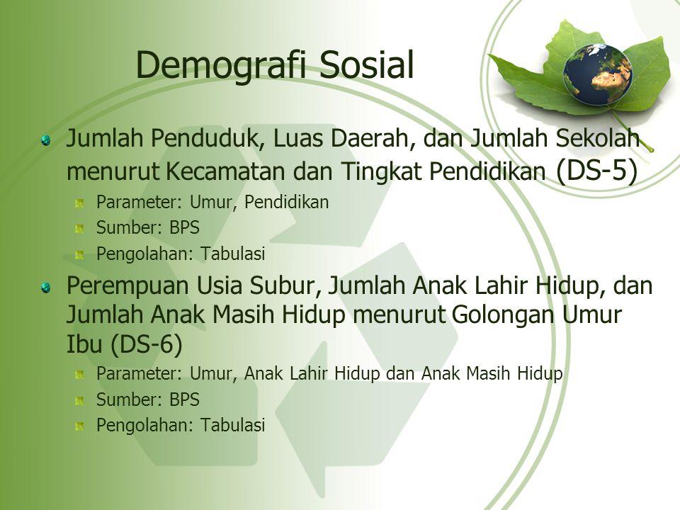 Demografi Sosial Jumlah Penduduk, Luas Daerah, dan Jumlah Sekolah menurut Kecamatan dan Tingkat Pendidikan (DS-5) Parameter: Umur, Pendidikan Sumber: