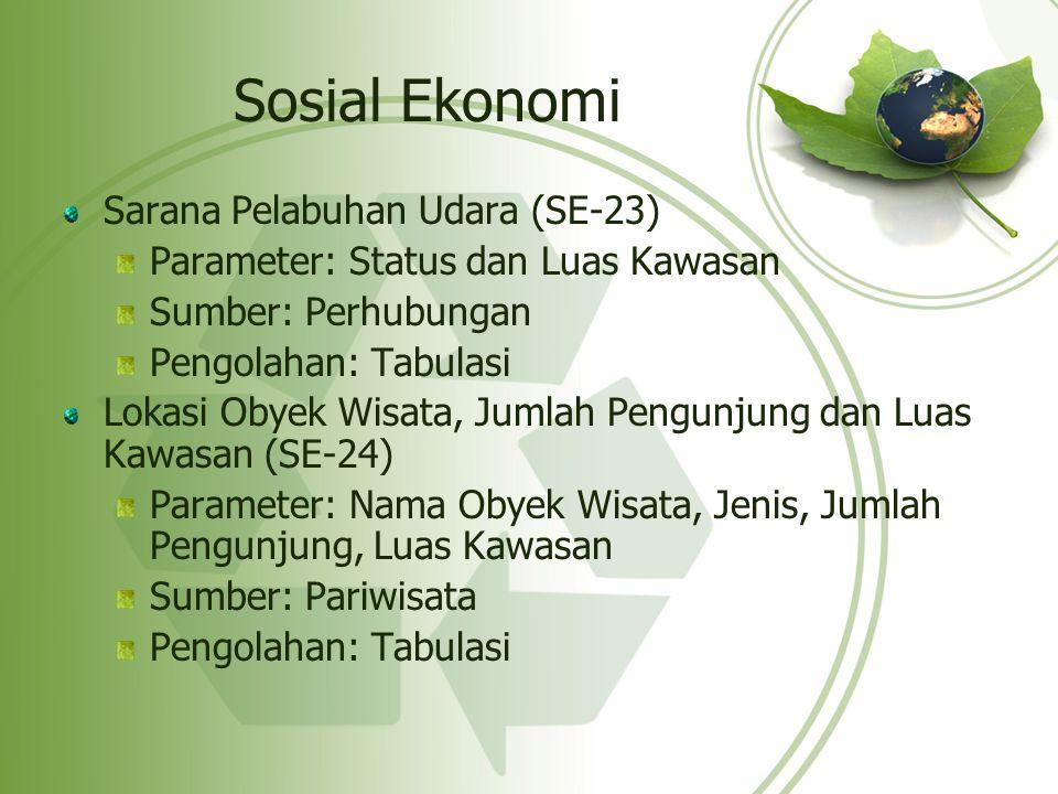 Sosial Ekonomi Sarana Pelabuhan Udara (SE-23) Parameter: Status dan Luas Kawasan Sumber: Perhubungan Pengolahan: Tabulasi Lokasi Obyek Wisata, Jumlah