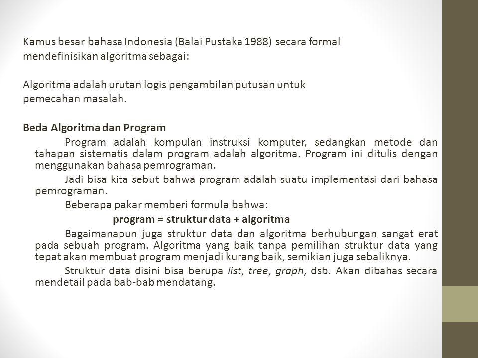 Kamus besar bahasa Indonesia (Balai Pustaka 1988) secara formal mendefinisikan algoritma sebagai: Algoritma adalah urutan logis pengambilan putusan un