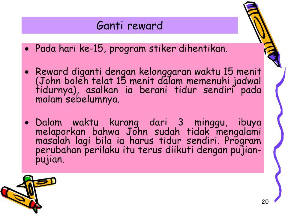 20 Ganti reward  Pada hari ke-15, program stiker dihentikan.