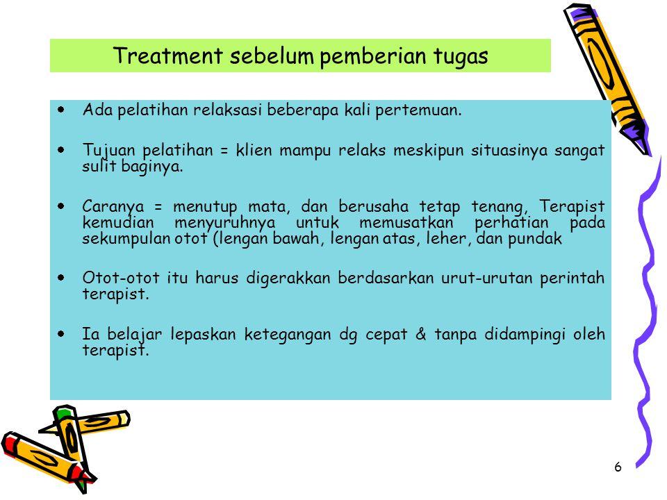 6 Treatment sebelum pemberian tugas  Ada pelatihan relaksasi beberapa kali pertemuan.