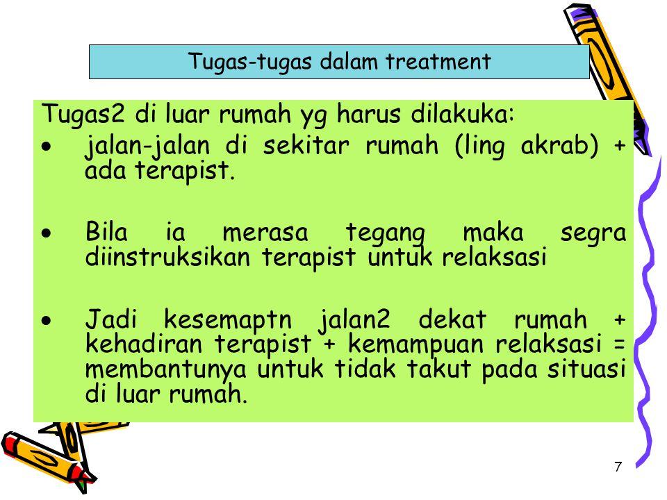 7 Tugas2 di luar rumah yg harus dilakuka:  jalan-jalan di sekitar rumah (ling akrab) + ada terapist.