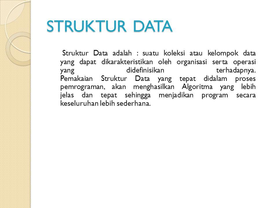 STRUKTUR DATA Struktur Data adalah : suatu koleksi atau kelompok data yang dapat dikarakteristikan oleh organisasi serta operasi yang didefinisikan te