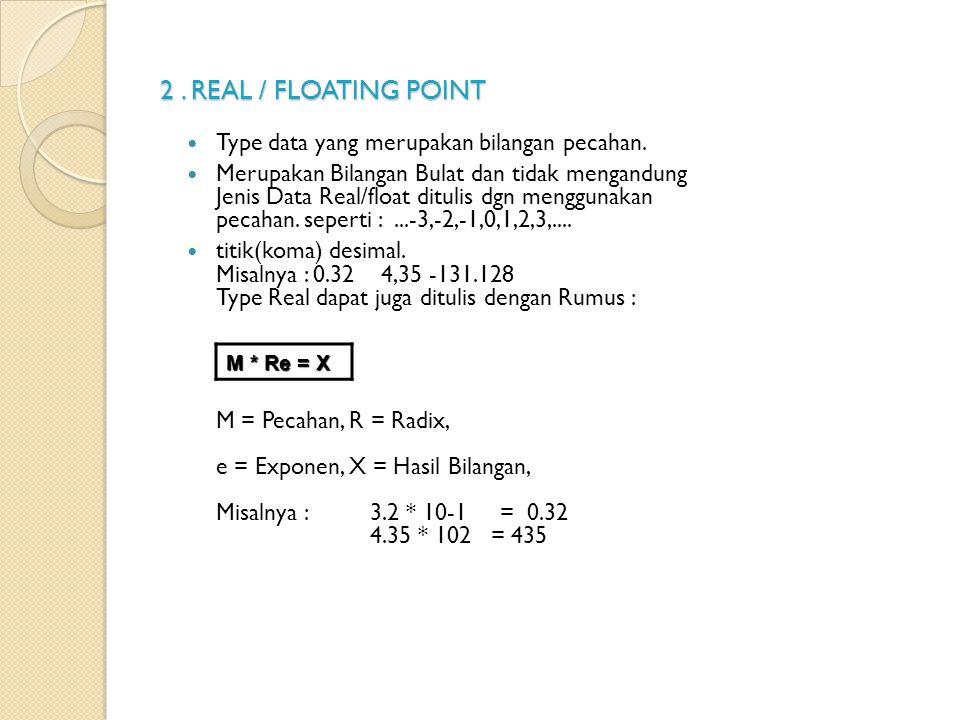 2. REAL / FLOATING POINT Type data yang merupakan bilangan pecahan. Merupakan Bilangan Bulat dan tidak mengandung Jenis Data Real/float ditulis dgn me