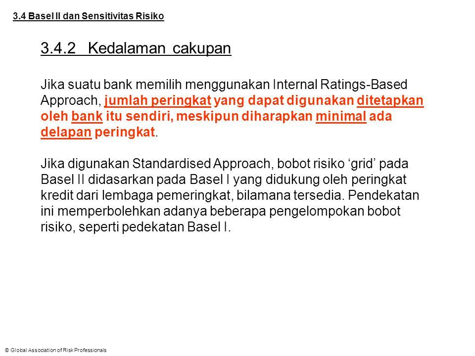 © Global Association of Risk Professionals 3.4 Basel II dan Sensitivitas Risiko 3.4.2Kedalaman cakupan Jika suatu bank memilih menggunakan Internal Ra