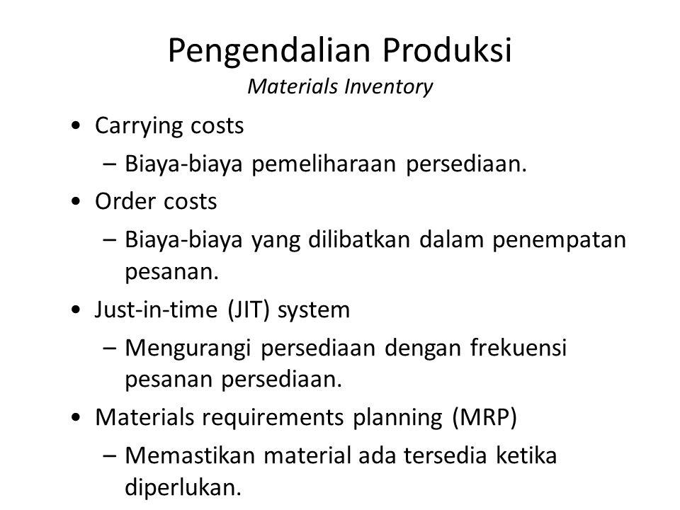 Pengendalian Produksi Materials Inventory Carrying costs –Biaya-biaya pemeliharaan persediaan. Order costs –Biaya-biaya yang dilibatkan dalam penempat