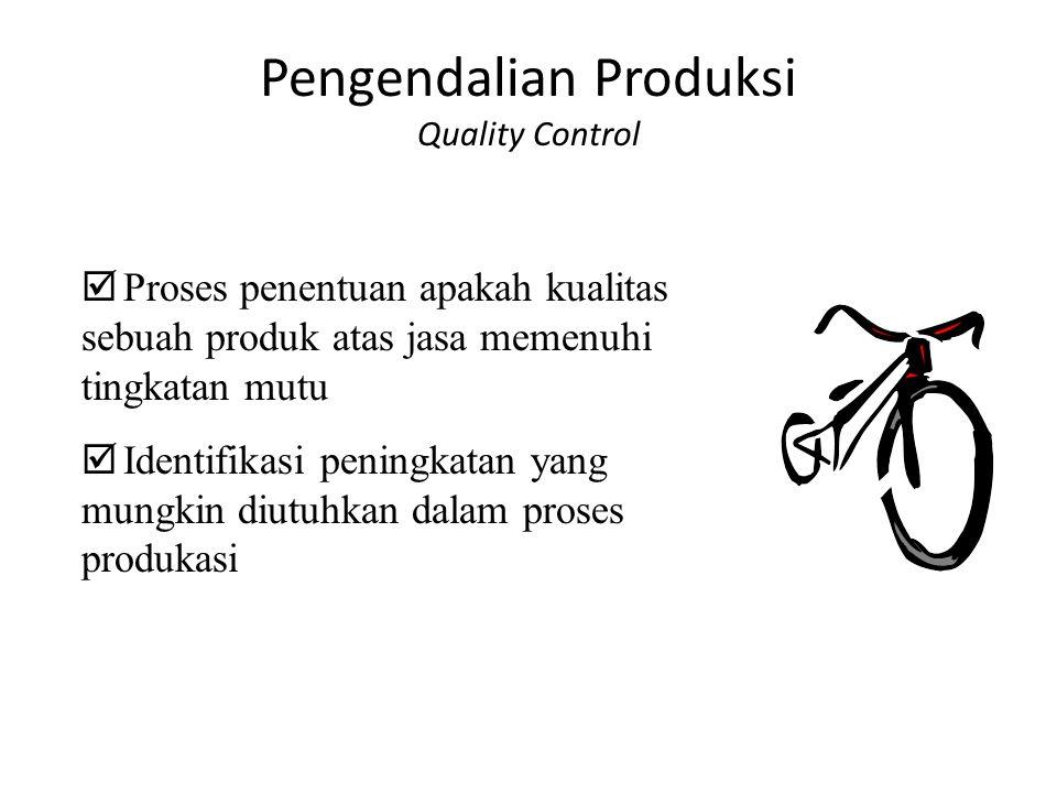 Pengendalian Produksi Quality Control  Proses penentuan apakah kualitas sebuah produk atas jasa memenuhi tingkatan mutu  Identifikasi peningkatan ya