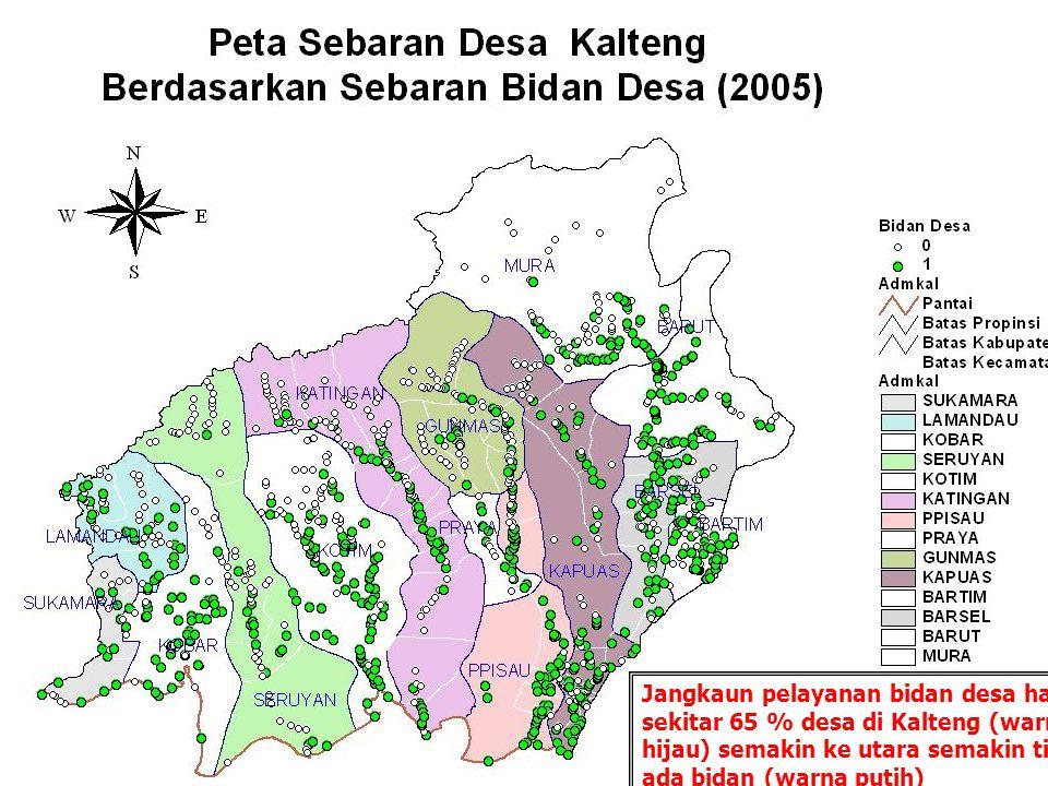 16 Sebagian besar desa masyarakatnya dapat menjangkau Pustu dengan mudah (warna hijau) kecuali desa di wilayah bagian utara dan selatan.
