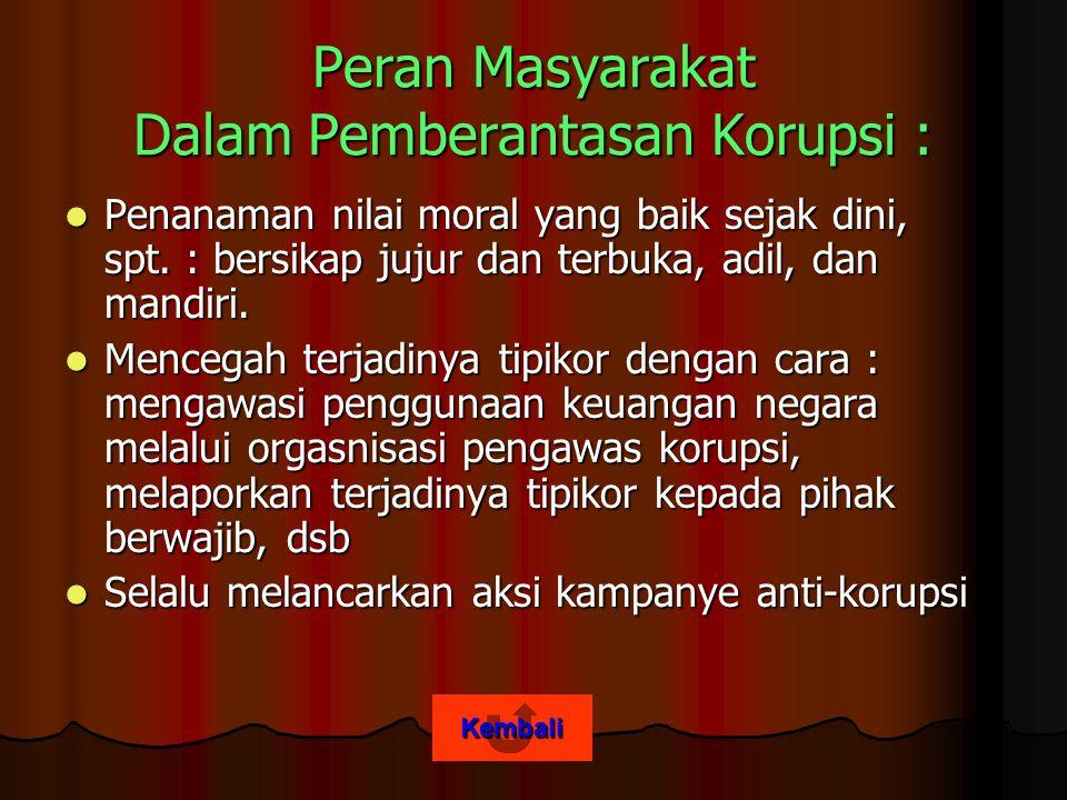 Kembali Peran Masyarakat Dalam Pemberantasan Korupsi : Penanaman nilai moral yang baik sejak dini, spt.