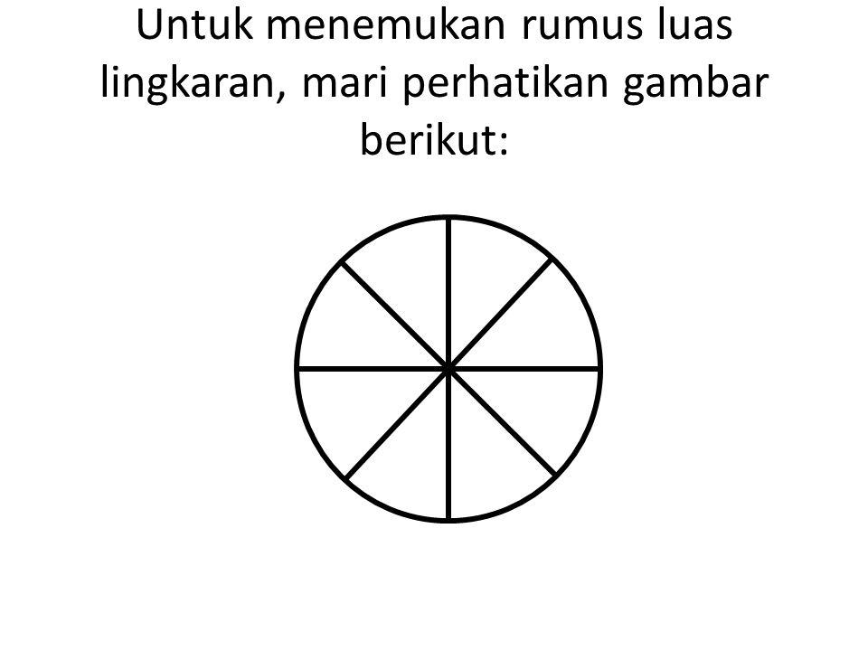 Untuk menemukan rumus luas lingkaran, mari perhatikan gambar berikut: