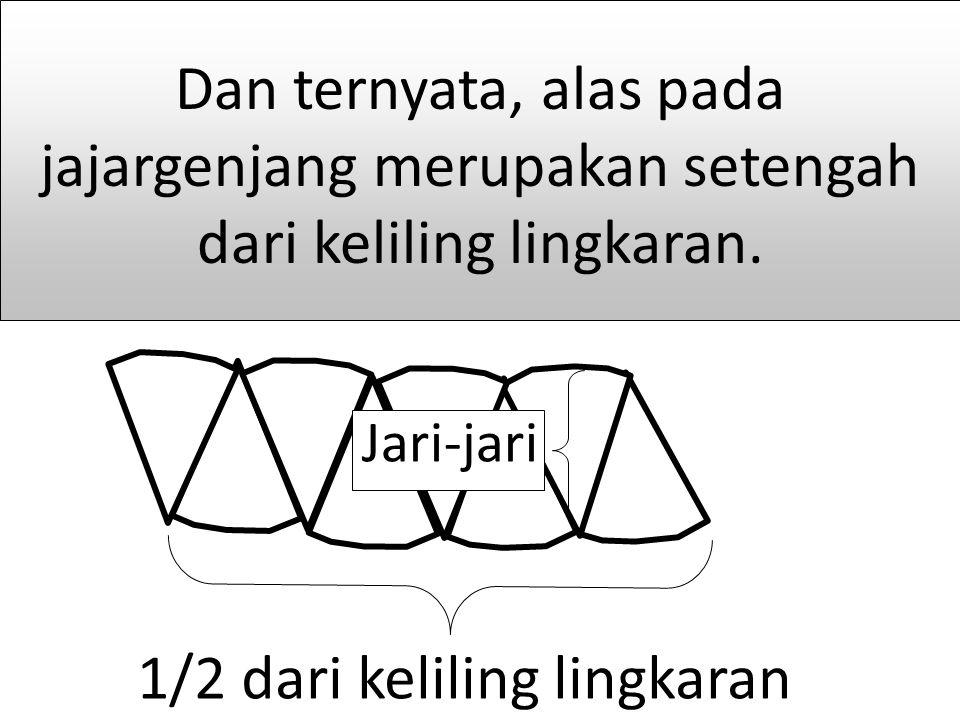 1/2 dari keliling lingkaran Jari-jari Dan ternyata, alas pada jajargenjang merupakan setengah dari keliling lingkaran.