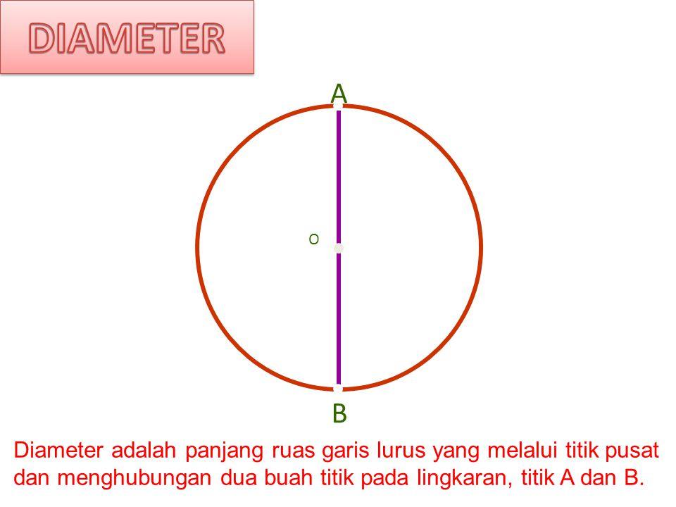 Diameter AB A B O Centre Diameter adalah panjang ruas garis lurus yang melalui titik pusat dan menghubungan dua buah titik pada lingkaran, titik A dan