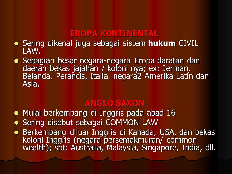 SISTEM HUKUM DUNIA Sistem hukum Eropa Kontinental Sistem hukum Eropa Kontinental Sistem hukum Anglo Saxon Sistem hukum Anglo Saxon Sistem hukum Adat S