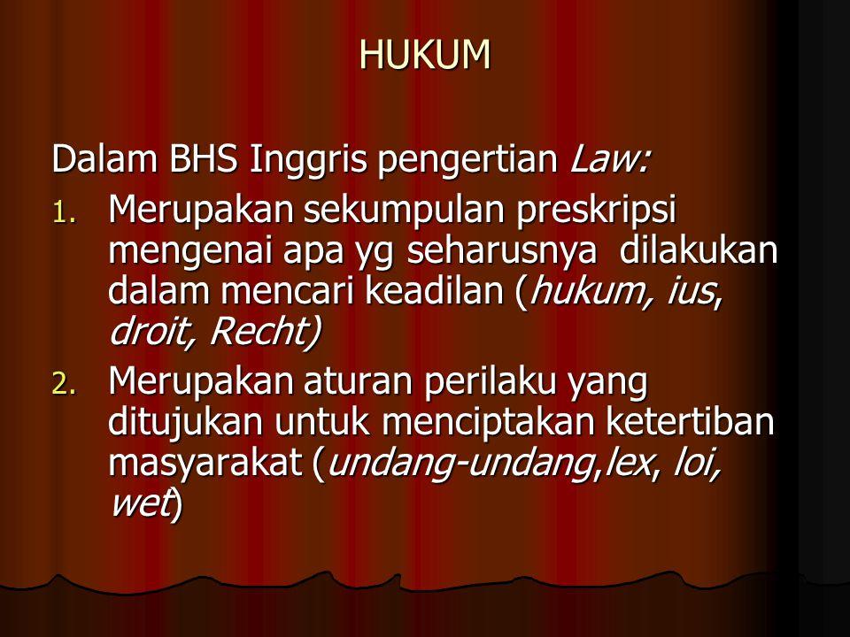 HUKUM Dalam BHS Inggris pengertian Law: 1.