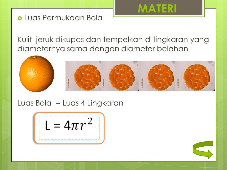 MATERI  Luas Permukaan Bola Kulit jeruk dikupas dan tempelkan di lingkaran yang diameternya sama dengan diameter belahan Luas Bola = Luas 4 Lingkaran