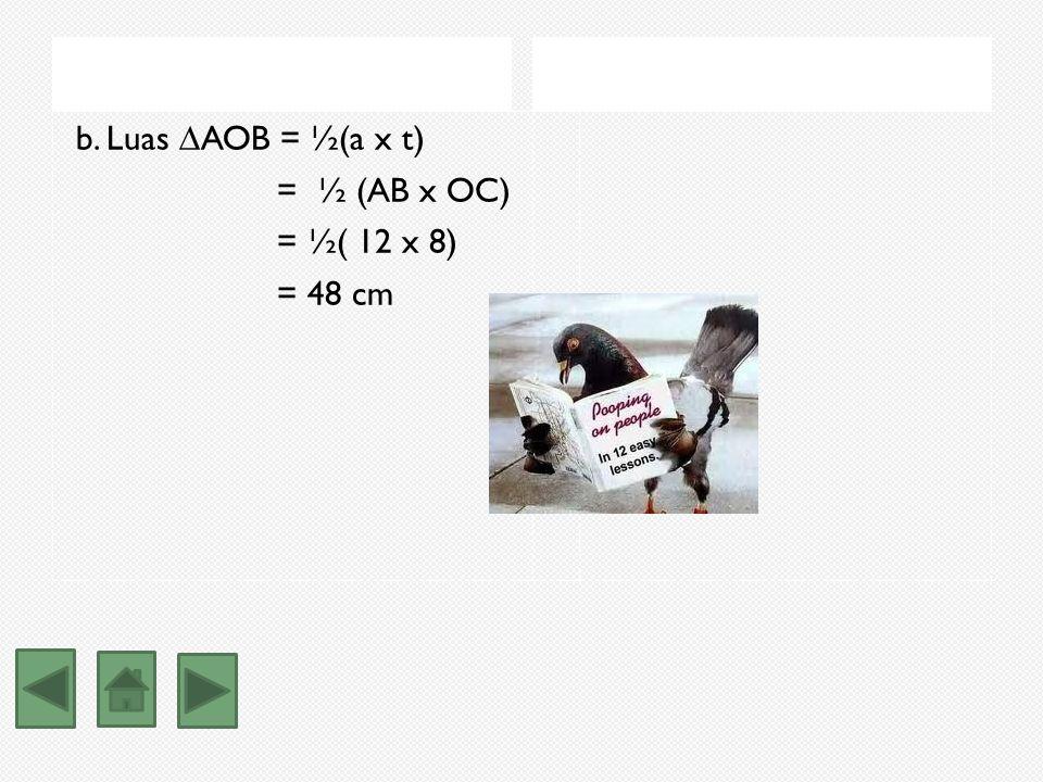 Jawaban: a. Perhatikan segitiga OCB,. Berdasarkan teorema pythagoras, OC² = OB² - BC² = OB² - (½AB) ² = 10² - 6² = 100 - 36 = 64 OC = 8 O A B C ¬ ¬