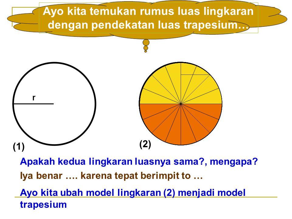 r Ayo kita temukan rumus luas lingkaran dengan pendekatan luas trapesium… Apakah kedua lingkaran luasnya sama , mengapa.