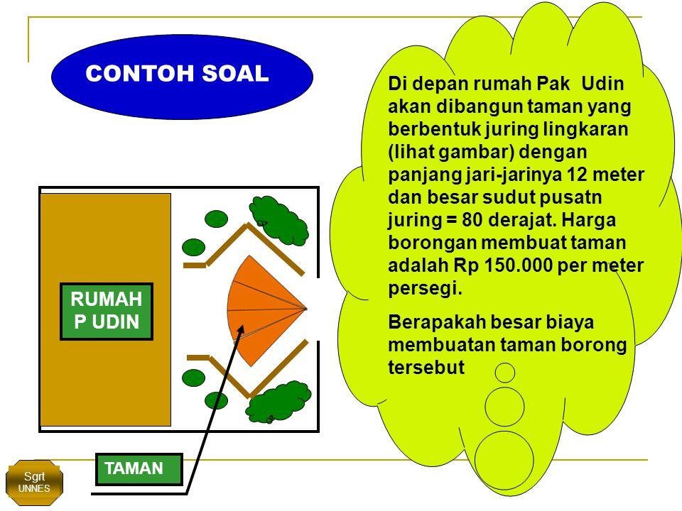Di depan rumah Pak Udin akan dibangun taman yang berbentuk juring lingkaran (lihat gambar) dengan panjang jari-jarinya 12 meter dan besar sudut pusatn juring = 80 derajat.