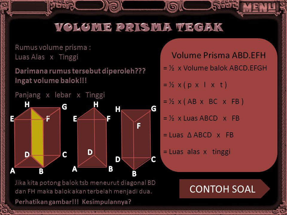 Rumus volume prisma : Luas Alas x Tinggi Darimana rumus tersebut diperoleh??? Ingat volume balok!!! Panjang x lebar x Tinggi Jika kita potong balok ts