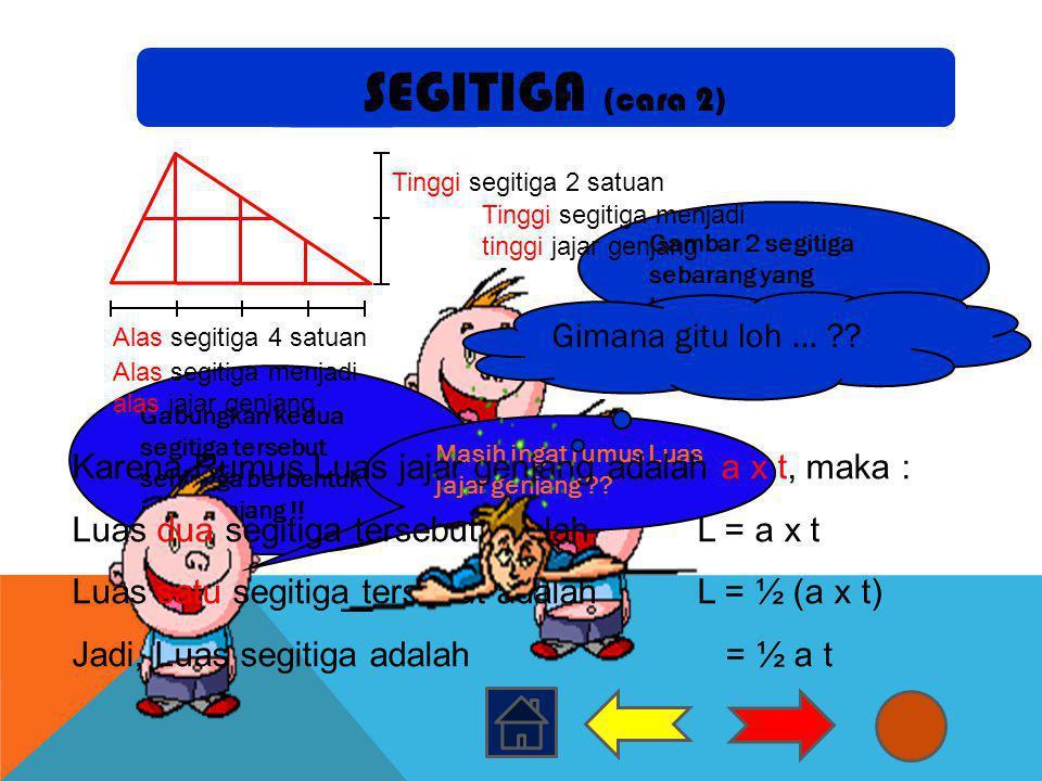 Gambar 2 segitiga sebarang yang kongruen !! Gabungkan kedua segitiga tersebut sehingga berbentuk jajar genjang !! Masih ingat rumus Luas jajar genjang