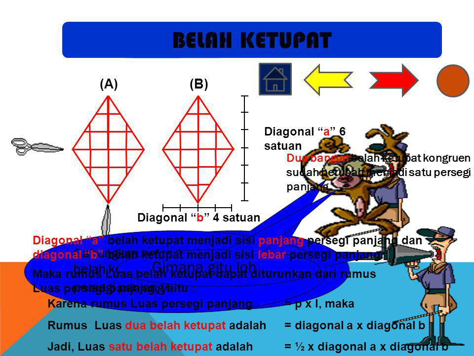 Potong belah ketupat A menurut kedua garis diagonal! (A)(B) Gabungkan potongan tersebut ke belah ketupat B sehingga terbentuk persegi panjang ! Gimana