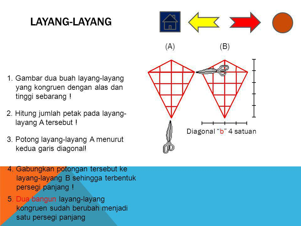 "LAYANG-LAYANG Diagonal ""b"" 4 satuan (A)(B) 1. Gambar dua buah layang-layang yang kongruen dengan alas dan tinggi sebarang ! 2. Hitung jumlah petak pad"